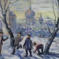 """""""Зимние забавы"""", бум/гуашь, 40х60"""