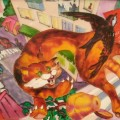 "Колесова Елена, ""Полёт над городом"", стекловитражн.краски, 30х40, 2012г"