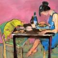 Ужин с кошкой, 70х100, холст, акрил, 2012г