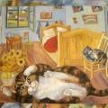 "Березина Елена ""Кошки Ван Гога"", хкм, 60х70, 2002г"