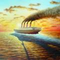 """Титаник уходит, последний закат"", хм, 60х80, 2011г"