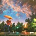 """Чернявский Александр, """"Прогулка под дождём"""", х\м, 50х66, 2011г"""