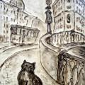 """Студеникин Юрий """"Портрет кота петербуржца"""", х\авт.тех, 60х30, 2012г"""