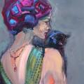 Дама с чёрной кошкой, 80х60, холст, акрил, 2012г