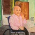 Дед на коляске, орг.м, 44х40, 2001г