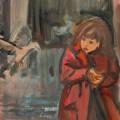 Девочка с голубкой, 50х40, холст, акрил, 2013г