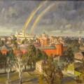"""Пейзаж с двойной радугой"" х.м, 70х90, 1997"