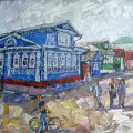 "Михаил Поляков ""Городец. У музея"" х.м. 40х50 2012"
