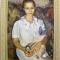 Катя и кот, 1998г, х.м, 80х60