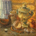 """Краюшкин Н.Г. """"Хлеб-да-соль"""" х.м, 76х87, 1986г"""