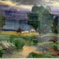 """""""Перед грозой"""" бум.акв, 47х60, 1983"""