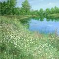 "Русляков А ""Ромашки у озера"" х\м, 60х50, 2013"