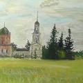 """""""Церковь в селе Волосково"""" бумага, гуашь, 2011г"""